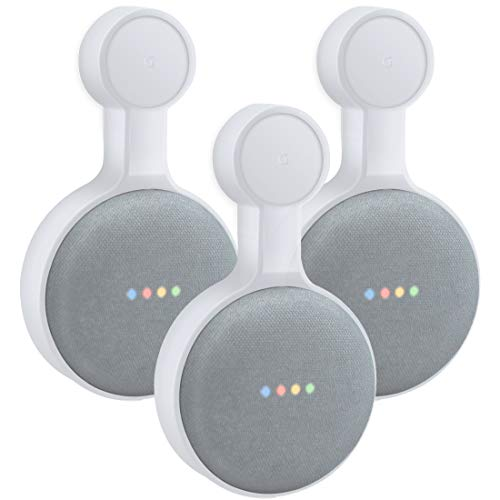 Outlet Wall Mount Holder for Google Home Mini (1st Genernation), A Space-Saving Accessories for Google Home Mini Voice Assistant (White 3-Pack)