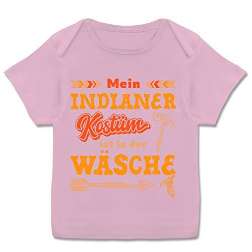 Karneval und Fasching Baby - Mein Indianer Kostüm ist in der Wäsche - 68-74 (9 Monate) - Rosa - Geschenk - E110B - Kurzarm Baby-Shirt für Jungen und Mädchen