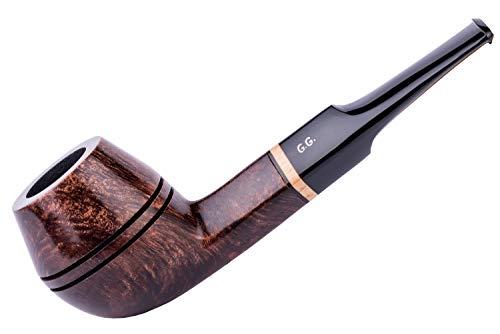 Pipa de madera para fumar tabaco, tallada a mano de raíz de brezo, filtro de enfriamiento de metal, viene con bolsa, en caja (Bulldog, Marrón)
