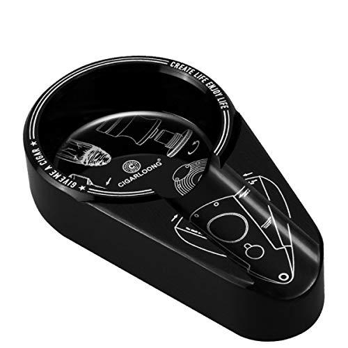 ZTMN Cenicero de cigarro Decoración de Sala de Estar de Metal Fregadero de Humo Individual Creativo Cenicero de Escritorio Grande (11,7 * 2,4 * 6,5 cm) Negro (Color: Negro)