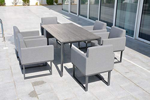 OUTFLEXX Esstisch, grau/anthrazit, Keramik Glas/Aluminium, 160x90x72cm, Gartentisch