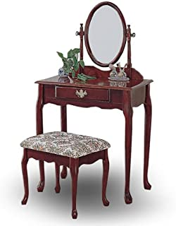 H-M SHOP Cherry Wood Queen Anne Vanity with Table & Bench Set
