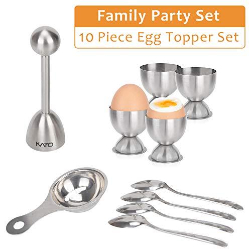 Kato - Juego de molinillo para huevos de Kato, cortador de huevos duro y suave, incluye quitahuevos, hueveras, cucharas para huevos y separador de huevos, 10 piezas de herramientas de acero inoxidable