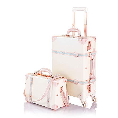 キャリーケース かわいい スーツケース 機内持ち込み トランクケース アンティーク調 キャリーバッグ ダイヤルロック搭載 スーツケースカバーと収納袋付き 軽量・4輪静音 小型 XS/Sサイズセット 出張 修学旅行用
