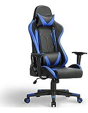 Yaheetech Gamingstol skrivbordsstol med nackstöd ergonomisk kontorsstol ländryggsstöd kontorsstol justerbar höjd 90–180° lutningsvinkel svart/blå