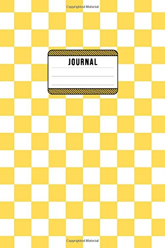 Jounrnal: Checker - Lined Composition Notebook - 6x9 - 100 Pages - Yellow & White