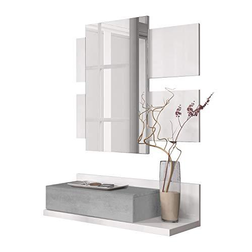 Habitdesign Ingresso con cassetto e Specchio, Mobile da Ingresso, Modello Tekkan, Rifinito in Bianco Artik e Cemento, Misure: 75 cm (Larghezza) x 116 cm (Altezza) x 29 cm (profondità)