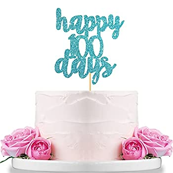 Blue Glitter Happy 100 Days Cake Topper for Baby Shower,Hello Baby 100th Day Cake Topper,Baby s Celebration,Wedding Party Decorations