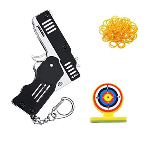 ExH Llavero Pistola de Juguete, Pistola de Juguete Hecha a Mano Mini Pistola de Goma Plegable Lanzador de Juguete Llavero de Juguete Pistola de Juguete Decoración para Adultos Niños