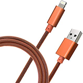 Primavox Apple Lightning Cable Deliver 2.4A Current iPhone Charger Cable Nylon Braided Ultra Durable Apple MFI Certified (1m-3.3ft) for iPhone X / 8/8 Plus / 7/7 Plus 6 / 6s (Orange)