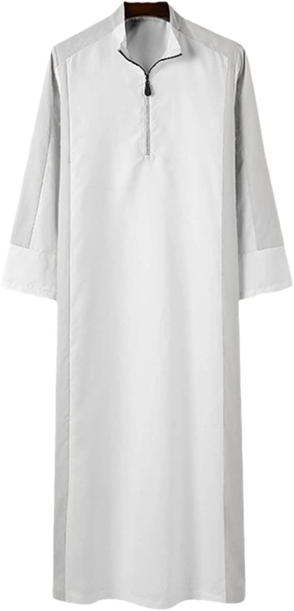 KEHAIOO Men Islamic Muslim Kaftan Dubai Abaya, Patchwork Stand Collar Long Sleeve Zipper Jubba Thobe