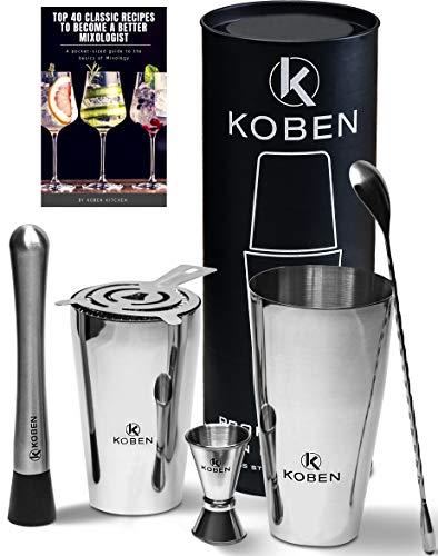Professional Bartender Kit Cocktail Shaker Set that DOES NOT LEAK and DOES NOT HAVE SHARP EDGES: 26 oz and 24 oz 304 Stainless Steel Boston Shaker, Muddler, Jigger, Mixing Spoon, Strainer, eBook Bonus