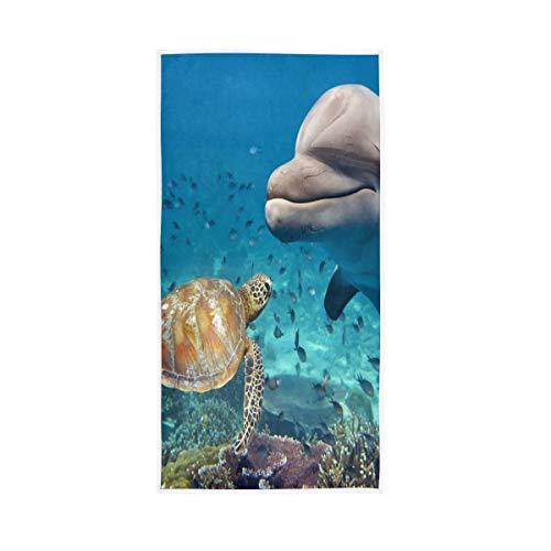 Ocean Sea Tier Schildkröte Delfin Fisch Handtuch Badelaken Badetuch Baumwolle Handtuch Gesicht Handtuch Ultra Weich und sehr saugfähig für Küche Badezimmer