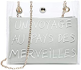 TOOGOO Fashion Small Shoulder Bag Women Etter Small Crossbody Messenger Bucket Bag Sling Bag Jelly Color Chain Mobile Phone Packet White