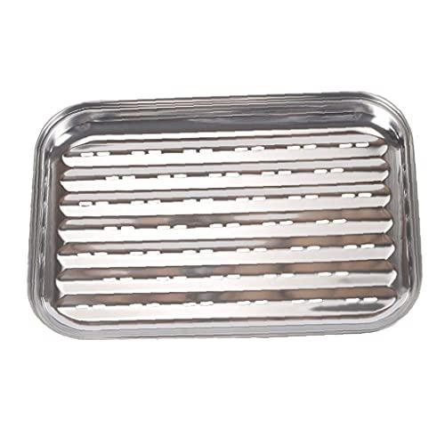 Långpanna Stainless Steel rektangel Barbecue Plate Vegetabiliska Cooker Grill Pan för Hem Utomhus Silver