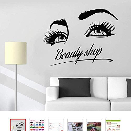 Autocollant mural en vinyle Beauté Boutique Logo Fille Cils Yeux Maquillage Cosmétiques Autocollants 75X57Cm