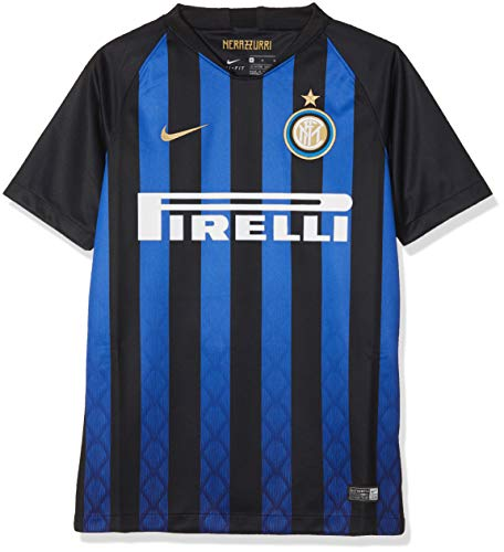 Nike Kinder Trikot Inter Milan Breathe Stadium Jersey Short-Sleeve Home, Black/Truly Gold, XL, 919244-011