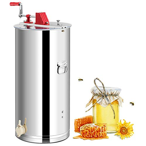 Goplus 2 Frame Honey Extractor, Stainless Steel Frame, Manual Honey Separator, w/Spinner Crank, Beekeeping Equipment, w/Transparent Lid, Ideal for Apiaries and Family Use (Silver)