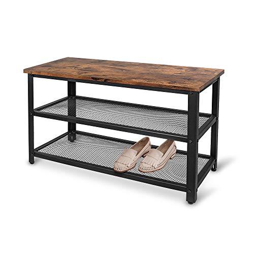 Gadgy Schuhregal Mit sitzbank Metall schwarz| Geeignet für 6 Paar Schuhe | Mit sitzfläche und Verstellbare Füße | schuheschrank Vintage