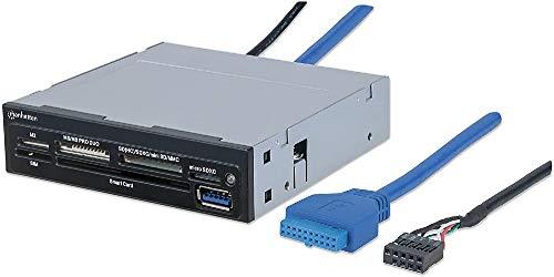 Manhattan 101974 Multi-Card Reader/Writer (USB 3.0, 8,9 cm (3,5 Zoll)-Einbau, 34-in-1, liest SIM-Karten und Smart Card)