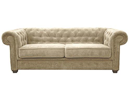 Chesterfield Style Sofa bed Venus 3 Seater 2 Seater Fabric Cream Settee (2seater, Cream)