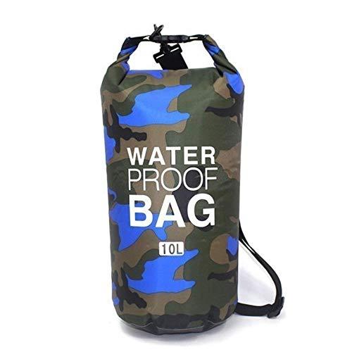 Sac Sec de Stockage de Natation de PVC Flottant de Camouflage Portable Sac Sec de plongée imperméable Pliable pour la randonnée en Plein air, Bleu de Camouflage 10L