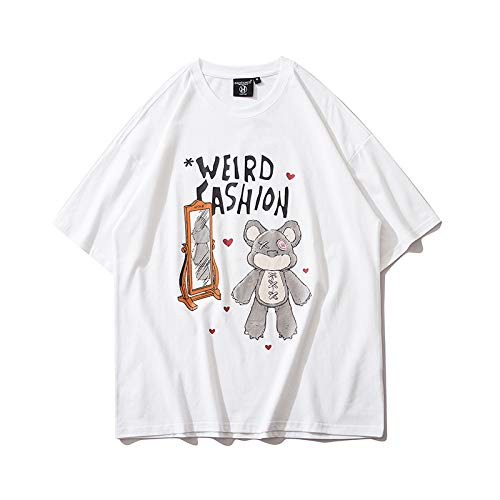 DREAMING-Los Cachorros Se Pusieron Una Sudadera De Verano De Manga Corta con Camisetas Holgadas De Algodón De Cuello Redondo Estampadas para Hombres Y Mujeres L