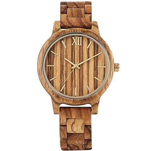 GIPOTIL Relojes Simples de Madera de ébano para Mujer, Reloj de Pulsera de Cuarzo para Mujer, Elegante y único, con Brazalete de Madera, Reloj Femenino para Hombre, Reloj de Cebra