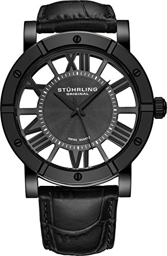 Stuhrling Original Black PVD Mens Watch Red Leather Strap - Swiss Quartz Ronda Mvmt (Black)