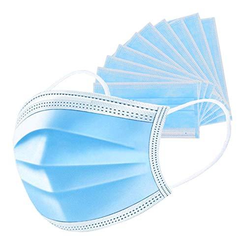 Einweg-Gesichtsmaske, UNTIRE Einweg-Schutzmaske 3 lagig Mund-Nasen-Schutz, Atmungsaktiv, Blau, 50 Stück