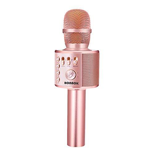 BONAOK Micrófono Inalámbrico de Karaoke Bluetooth, 3-en-1 Portátil Karaoke Portátil Mic Regalo de Altavoces para Ffiestas en el Hogar para iPhone/Android iPad PC Smartphone (Oro Rosa Plus)