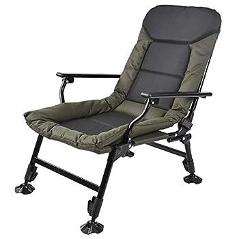 Chaise de Camping Chaise de pêche Portable inclinable Pliante Fauteuil de Jardin réglable en Plein air Chaise Longue Chaise compacte Structure en Acier Chaise de Robuste avec Repose-Bras
