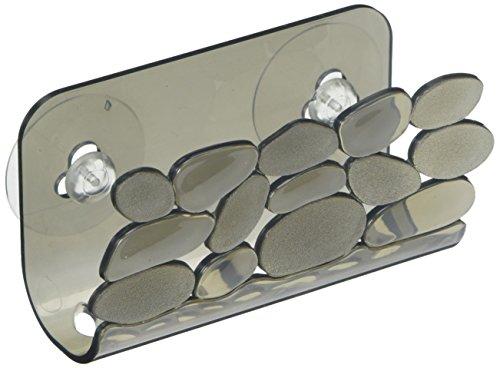 InterDesign Pebblz porte-éponge, panier de rangement vaisselle en plastique avec un design en forme de galets, égouttoir avec ventouses, noir/gris