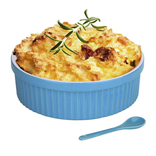 Souffle Dish Ramekins for Baking – 48 Oz, 1.5 Quart Large Ceramic Oven Safe Round Fluted Bowl with Mini Condiment Spoon for Soufflé Pot Pie Casserole Pasta Roasted Vegetables Baked Desserts (Blue)
