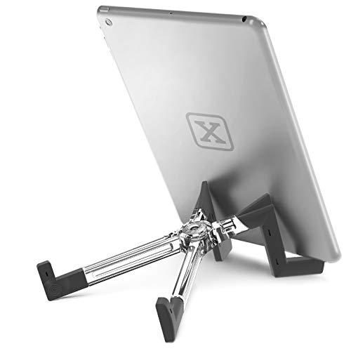 KEKO Tablet-Ständer, universal, leicht, faltbar, mehrere Positionen, für iPad/Android/Galaxy/Kindle/Smartphone/E-Reader, kompatibel mit Schutzhülle Transparent farblos