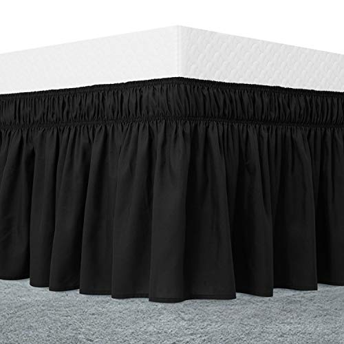 Guken Black Bed Skirt Queen Size Ruffled Bedskirt 15 Inch Drop Dust Ruffle with Platform, Wrinkle and Fade Resistant, Easy Fit Wrinkle and Fade Resistant Textured Silky Luxurious Fabric Solid Color