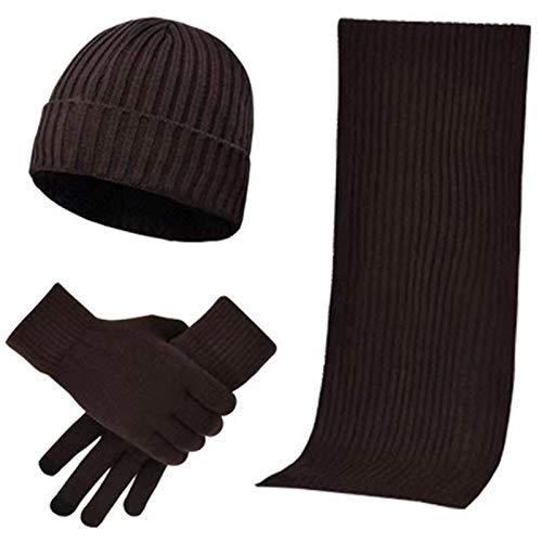 XJHN Sombrero de Invierno Gorro de Cabeza para Hombres y Mujeres con Pantalla táctil, Guantes y Bufanda, Gorro Unisex para Exteriores, Juego de Montar 3
