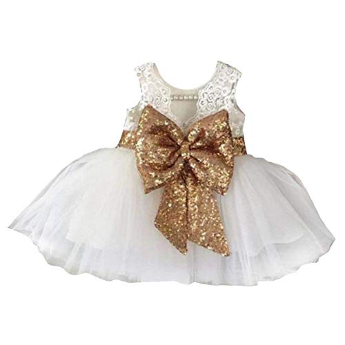 Sanwood Girls Bowknot Lace Princess Skirt Summer Sequins Robes pour bébé Tout-petits Enfants 0-5 ans Rouge Blanc Kid-90