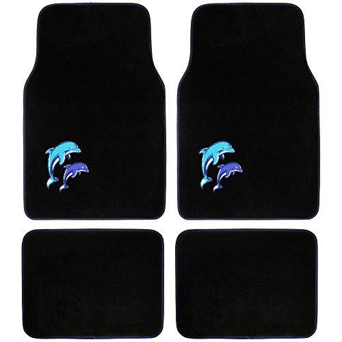 BDK Universal Fit 4-Piece Dolphin Design Carpet Floor Mat Set - (Black/Blue Dolphin), (MT-515)