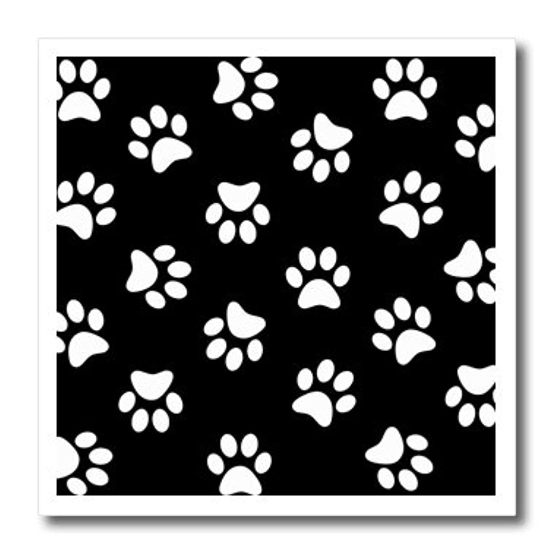 3dRose Black Paw Print Pattern-Pawprints-Cute Cartoon Animal eg Dog or cat Footprints-Iron On Heat Transfer, 8 by 8-inch, for White Material (ht_161522_1)