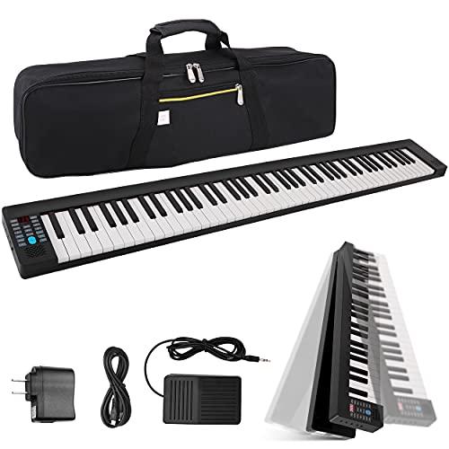 Pyle Electric Foldable Keyboard 88 Keys, Bluetooth, 28 Rhythms/Tones Built in Speaker Sustain Pedal, Piano Bag Included PKBRD8100