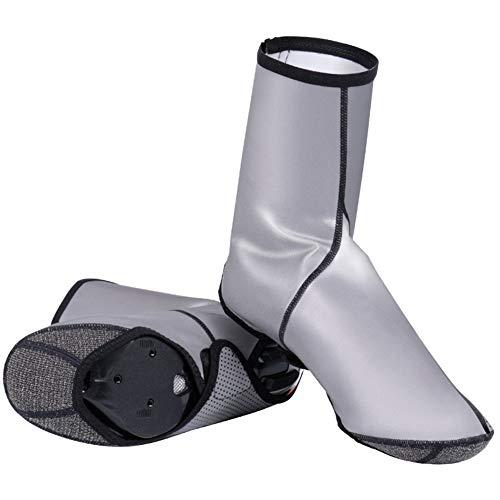 Impermeable Ciclismo Zapatos Cubierta Viento Térmico Durable A prueba de viento lluvia Overshoes All-around Reflectante MTB Road Bike Zapatos Cubierta, color Plateado, talla X-Large