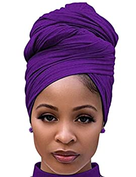 African Scarfs for Women Head Wraps Stretch Turban Jersey for High Ponytails or Bun Styles Purple