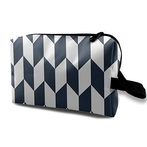 Customized Navy Thick Offset Chevrons Ladies'skin Care Cosmetic Bag Portable Cosmetic Bag Waterproof Travel Pocket, Handbag Zipper Pocket