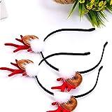 Fleymu Diadema de Reno de Navidad Linda Diadema para Fiesta Tocado para Celebración Accesorio Pelo Aro Oreja Tocado de Pascua Adornos Sombreros de Orejas de Asta para la Decoración Diaria de la Fiesta