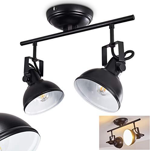 Deckenleuchte Tina, Deckenlampe aus Metall in Schwarz/Weiß, 2-flammig, mit verstellbaren Strahlern, 2 x E14-Fassung, max. 40 Watt, Retro/Vintage Design