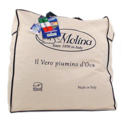Molina 100% Piumino D'Oca Siberiano Matrimoniale Maxi King Size 250x220 Perla 4 Punti Calore + Omaggio tavoletta Profumo armadi by biancocasa