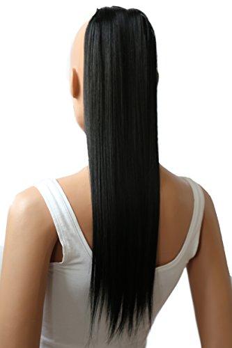 PRETTYSHOP 60cm Haarteil Zopf Pferdeschwanz Haarverlängerung Glatt Schwarz HCK1