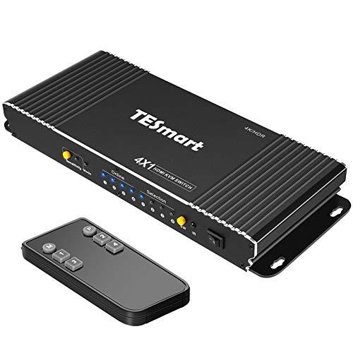 TESmart HDMI KVM Switch 4ポートKVMスイッチ 4K60Hz PC切り替えサポートマルチメディアキーボード&Mouse USB2.0機器は最高4台のコンピュータにコントロールするサーバ、DVRを制御| リモートコントロールディスプレイ HDCP 2.2