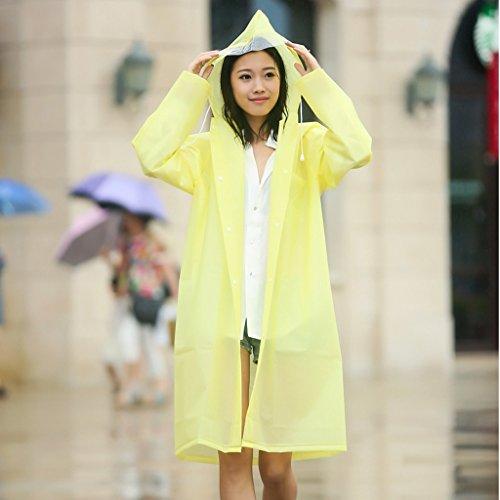 Vestes anti-pluie QFF Adulte Raincoat Femelle Long Section Siamois Outdoor sur Pied Escalade Tourisme Homme Transparent Big Hat Waterproof Poncho (Couleur : Le Jaune, Taille : XL)